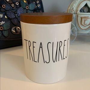 """Rae Dunn Ceramic jar """"Treasures"""" with lid"""